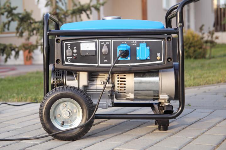 portable electric generator setup outside